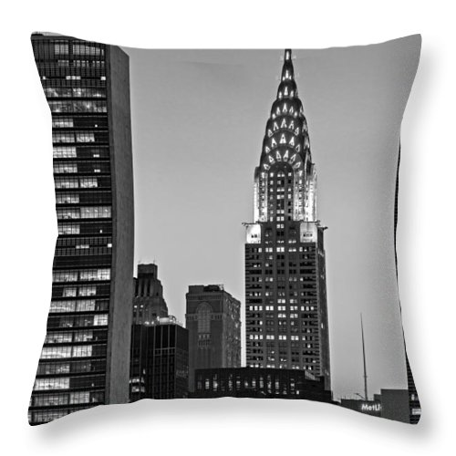 42nd Street Throw Pillow featuring the photograph Chrysler Building New York City Bw by Susan Candelario
