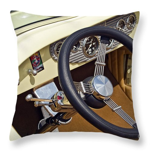Classic Throw Pillow featuring the photograph Chrysler Interior Steering Wheel Classic Car American Made by David Zanzinger