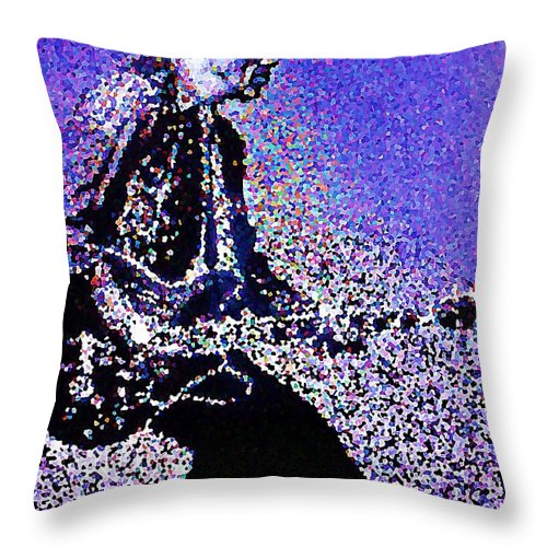 Chuck Berry Throw Pillow featuring the painting Chuck Berry Rocks Abstract by Saundra Myles