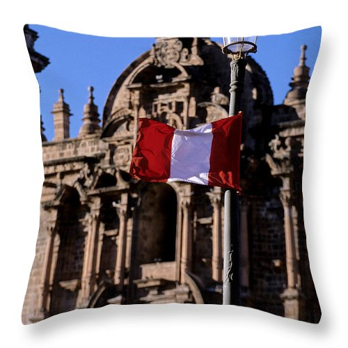 Religious Architecture Throw Pillow featuring the photograph Church And Flag Cusco Peru by Ryan Fox