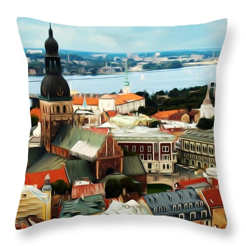 Aerial Throw Pillow featuring the painting Church And River by Jeelan Clark