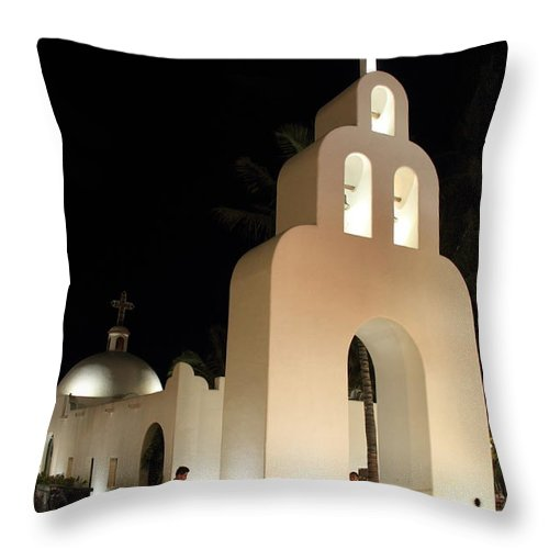 Church Throw Pillow featuring the photograph Church At Night In Playa Del Carmen by Roupen Baker