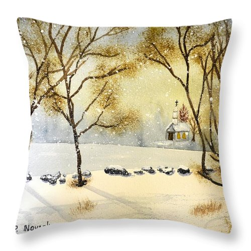 Christmas Throw Pillow featuring the painting Church By The River by Patricia Novack
