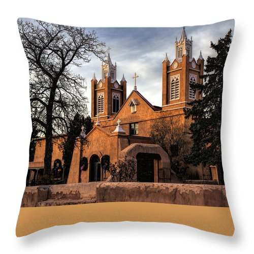 Old Town Albuquerque Throw Pillow featuring the photograph San Felipe De Neri by Diana Powell