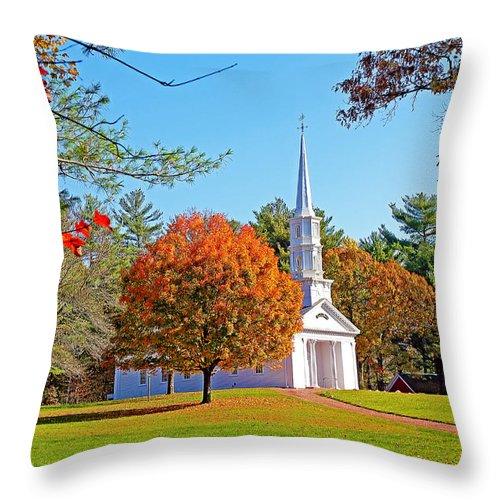 Church Throw Pillow featuring the photograph Church In Autumn by Evan Peller