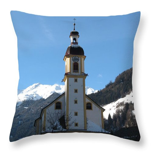 Church Throw Pillow featuring the photograph Church In The Austrian Alps by Christiane Schulze Art And Photography