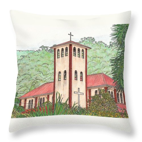 Church Throw Pillow featuring the drawing Church In The Jungle by Lew Davis