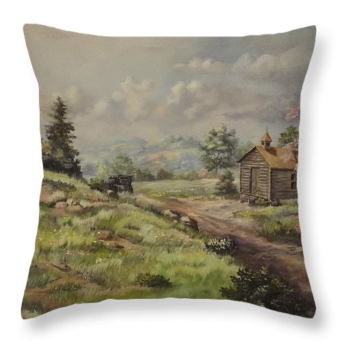 Landscape Throw Pillow featuring the painting Church In The Ozarks by Wanda Dansereau