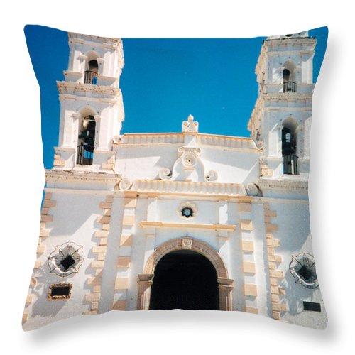 20090502-church Mexico Silver Mines Catholic Scan0084k Throw Pillow featuring the photograph Church Near Silver Mines by Douglas Barnett