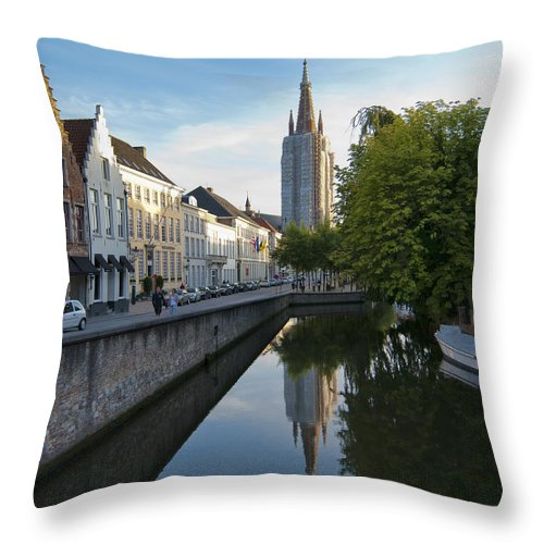 Church Of Our Lady Reflection Throw Pillow featuring the photograph Church Of Our Lady Reflection by Phyllis Taylor