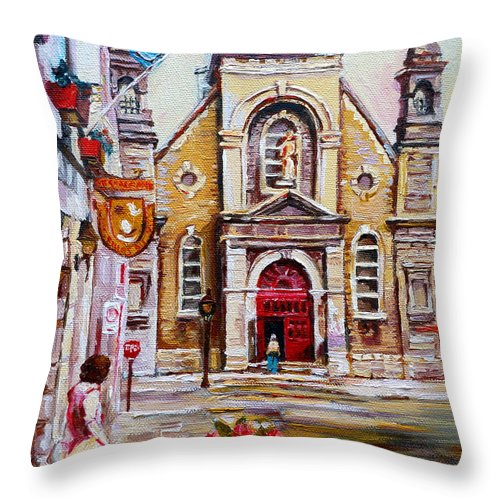 Montreal Churches Throw Pillow featuring the painting Church On Sunday by Carole Spandau