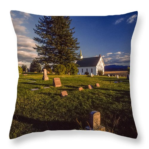 Church Throw Pillow featuring the photograph Church Potlatch Idaho 1 by Mike Penney