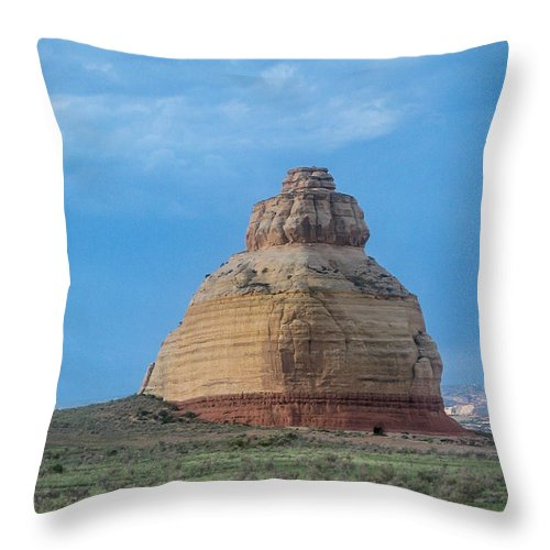Moab Throw Pillow featuring the photograph Church Rock On The Road To Moab by John Haldane