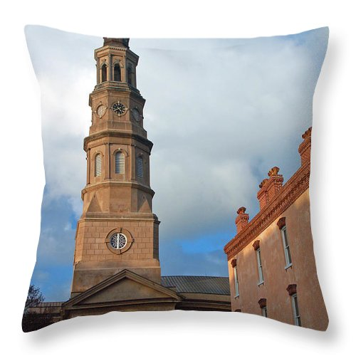 Church Street Throw Pillow featuring the photograph Church Street In Charleston Sc by Suzanne Gaff