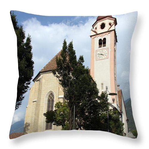 Church Throw Pillow featuring the photograph Church Village Tirol by Christiane Schulze Art And Photography
