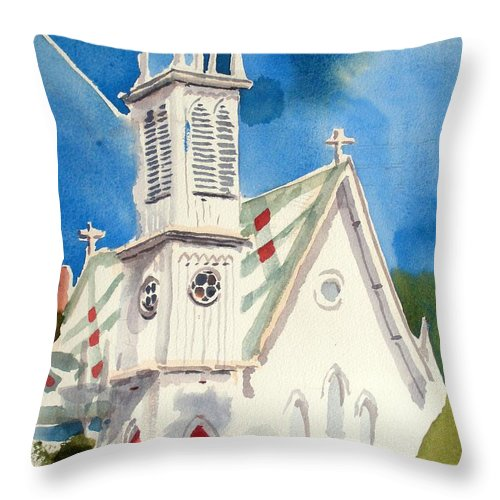 Church Throw Pillow featuring the painting Church With Jet Contrail by Kip DeVore