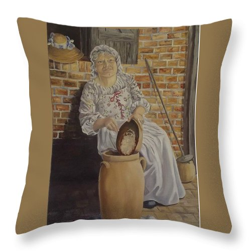 Historic Throw Pillow featuring the painting Churning Butter by Wanda Dansereau