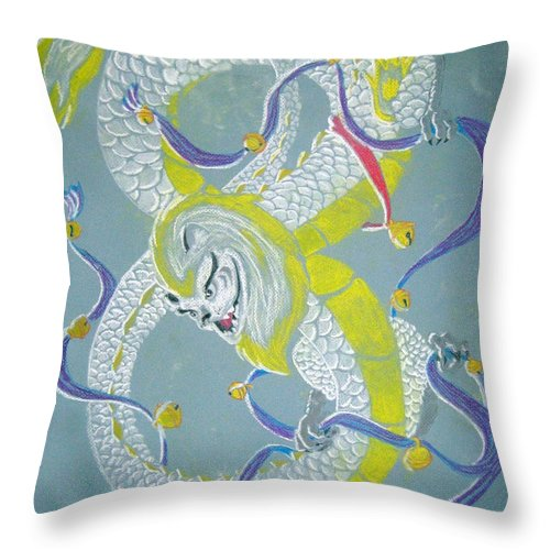 Dragon Throw Pillow featuring the pastel Chu's Dance Of 12 Bells by Wendy Coulson
