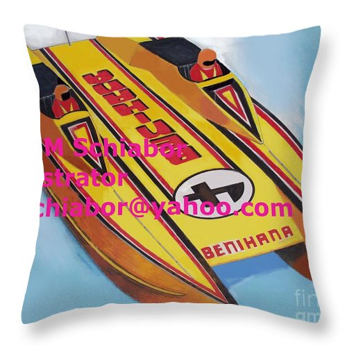 Power Boat Throw Pillow featuring the painting Cigarett Power Boat Illustration by Eric Schiabor