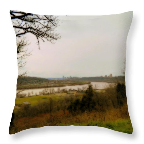 Cincinnati Throw Pillow featuring the photograph Cincinnati And The Ohio River Looking West by Kathy Barney