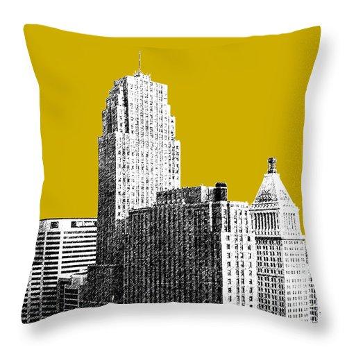 Architecture Throw Pillow featuring the digital art Cincinnati Skyline 2 - Gold by DB Artist