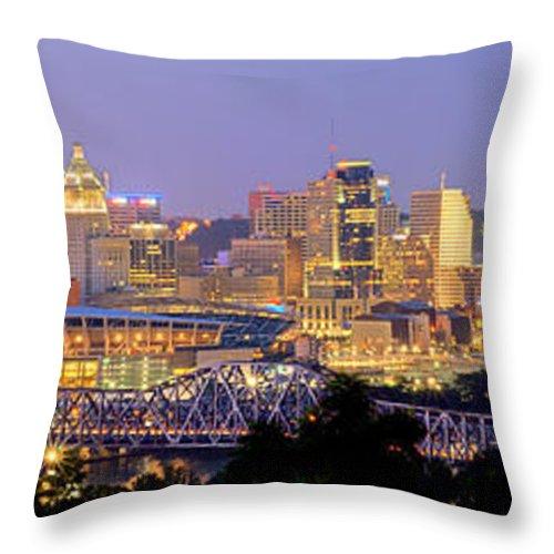 Cincinnati Skyline Throw Pillow featuring the photograph Cincinnati Skyline At Dusk Sunset Color Panorama Ohio by Jon Holiday