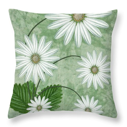 Abstract Flowers Throw Pillow featuring the digital art Cinco by John Edwards