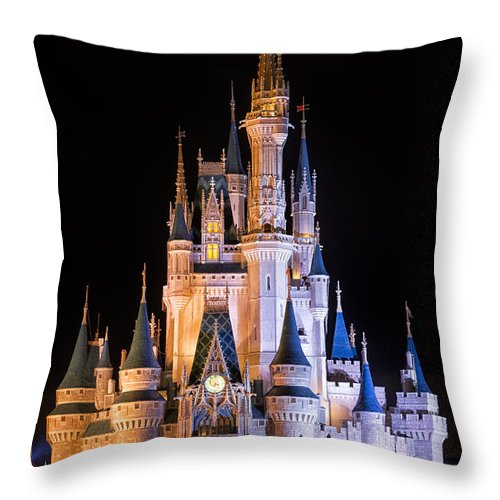 3scape Throw Pillow featuring the photograph Cinderella's Castle in Magic Kingdom by Adam Romanowicz