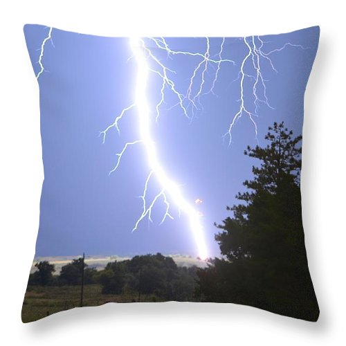 Lightning Throw Pillow featuring the photograph Cindy's Tower Lightning by Audie T Photography