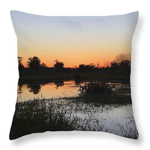 Circle B Throw Pillow featuring the photograph Circle B Winter Sunset by Carol Bradley