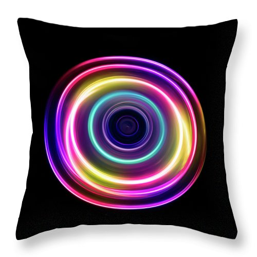Focus Throw Pillow featuring the photograph Circle Light Trails by Miragec
