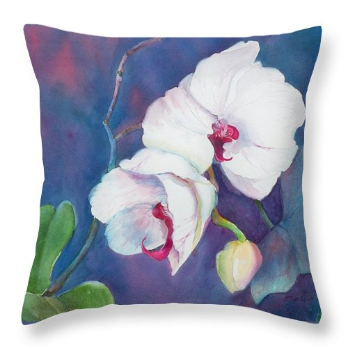 Orchid Painting Throw Pillow featuring the painting Circle Of Life by Sue Kemp