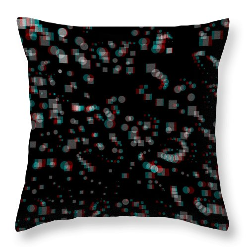3d Throw Pillow featuring the digital art Circles And Squares - Use Red-cyan 3d Glasses by Brian Wallace