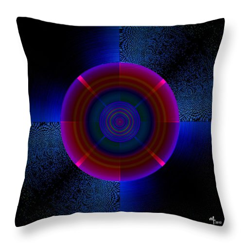 Hypnotic Geometric Throw Pillow featuring the digital art Circles In A Square 5 by Warren Furman
