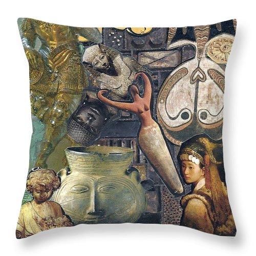 Mixed Media Throw Pillow featuring the mixed media Circles Of Life by Paula Emery