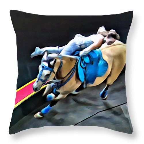 Circus Horse Trick Rider Woman Throw Pillow featuring the photograph Circus Horse Trickster by Alice Gipson