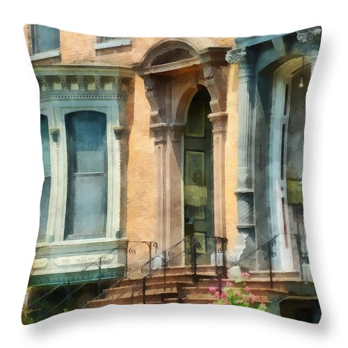Albany Throw Pillow featuring the photograph Cities - Albany Ny Brownstone by Susan Savad