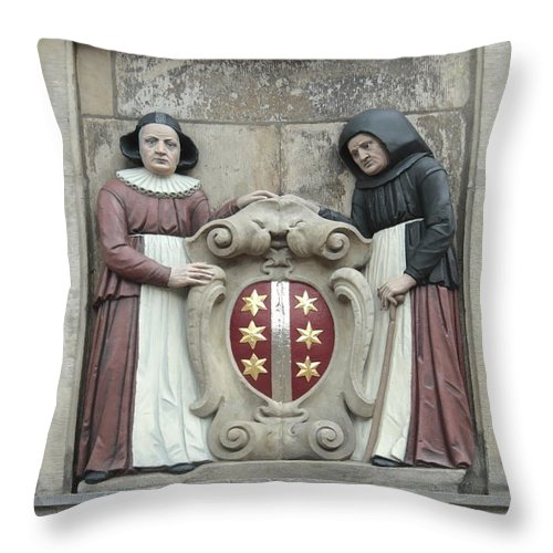 City Throw Pillow featuring the photograph city arms of Gouda by Ronald Jansen