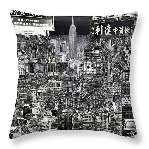 City-art Throw Pillow featuring the digital art City Art United City by Mary Clanahan