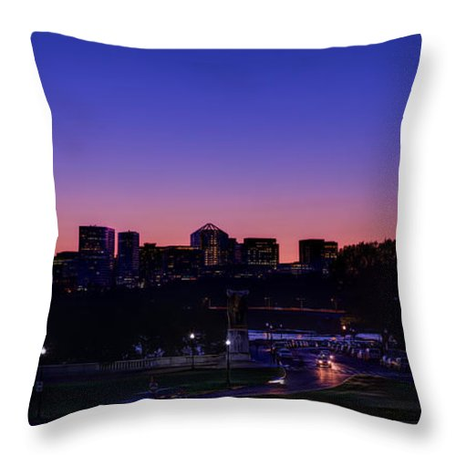 Skyline Throw Pillow featuring the photograph City At The Edge Of Night by Metro DC Photography