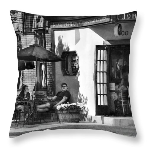 Baltimore Throw Pillow featuring the photograph City - Baltimore Md - Having A Cold One by Mike Savad