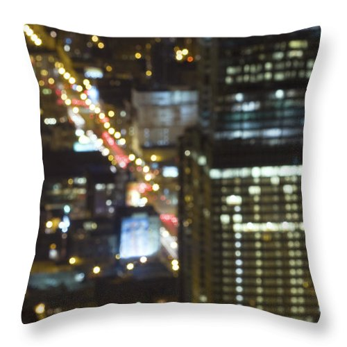 Architecture; Building; Chicago; City; Cityscape; District; Downtown; Lights; Night; Skyline; Skyscraper; Urban; Dark; Evening; United States; Illinois; Blurry; Defocused Throw Pillow featuring the photograph City Blur by Margie Hurwich