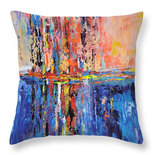 Abstract Throw Pillow featuring the painting City By The Sea 2 by Sara Miller
