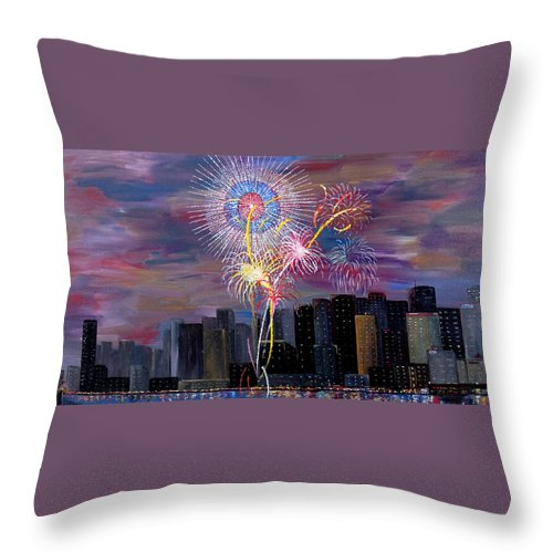 San Francisco Throw Pillow featuring the painting City Celebration San Francisco Bay by Mark Moore