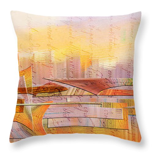 Abstract Throw Pillow featuring the painting City Commerce Panoramic by Jean Moore