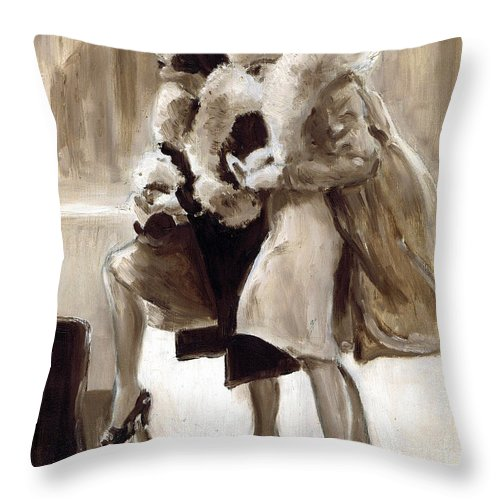 Nostalgia Throw Pillow featuring the drawing City Flappers by Mel Thompson