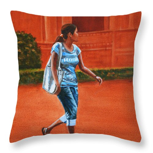 City Throw Pillow featuring the painting City Girl by Usha Shantharam