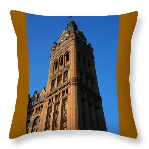 City Hall Throw Pillow featuring the photograph City Hall - Milwaukee by Susan McMenamin