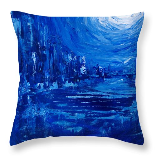 City Painting Throw Pillow featuring the painting City In Blue by Christine Cobden