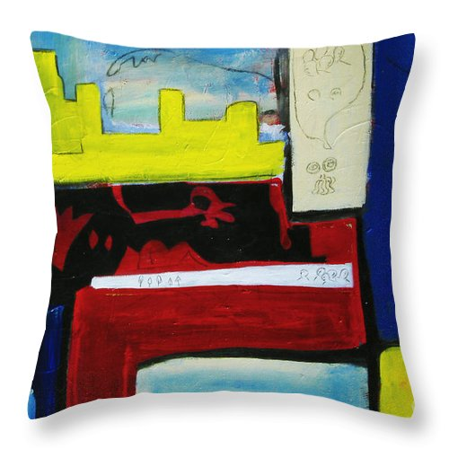 Painting Throw Pillow featuring the painting City Life by Jeff Barrett
